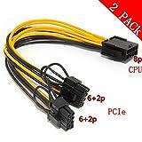 CPU 8pin zu Grafikkarte Doppel PCI-E 8Pin (6Pin + 2Pin) Netzteilkabel, Splitter PCI Express Grafikkartenanschluss PC Power Kabel Wire CPU Molex für Grafikkarte BTC Miner (2 Pack)