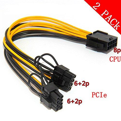 CPU 8pin zu Grafikkarte Doppel PCI-E 8Pin (6Pin + 2Pin) Netzteilkabel, Splitter PCI Express Grafikkartenanschluss PC Power Kabel Wire CPU Molex für Grafikkarte BTC Miner (2 Pack) - 8 Pin Wire