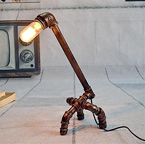 BIUODY epoca industriale battuto tubi di acqua di ferro Lampada da tavolo camera da letto soggiorno dimmerabile fatta a mano Lampada da comodino Lampada da tavolo Light Desk