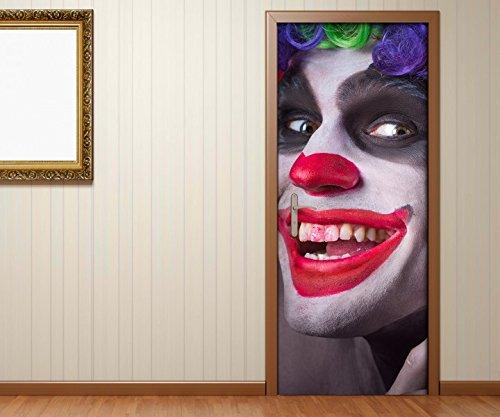 Türaufkleber Horror Clown Maske gruselig Gesicht Tür Bild Türposter Türfolie Türtapete Poster Aufkleber 15A368, Türgrösse:67cmx200cm (Clown Gesichter Gruselig)