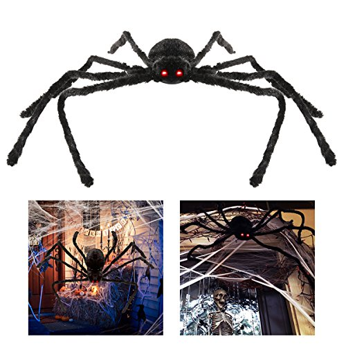 LUOEM Giant Spider Halloween Dekorationen 49 Zoll LED Eyes Realistische Fake Plüsch Spinne Halloween Stützen Outdoor Dekorationen (Outdoor Halloween Dekoration)