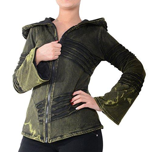 Kunst und Magie Damen Cutwork Goa Jacke mit Zipfelkapuze Army Green