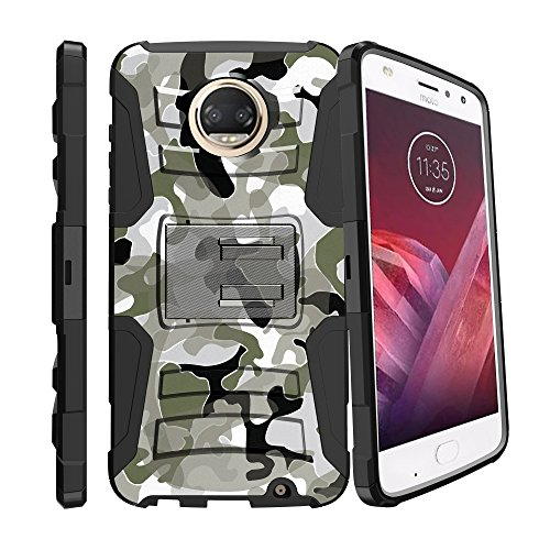 Hybrid Bumper Schutzhülle für [Motorola Moto Z2Play | Moto Z2Force [xt1710] 2017] [Clip Armor] Rugged Hard Shell Schutzhülle mit Metallständer und Holster, Swamp Camo (Handys Tmobile Entsperrt)
