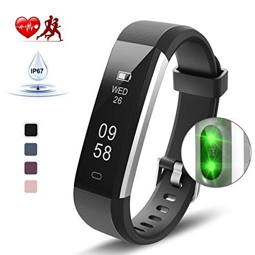 Kungber Fitness Armband, Fitness Tracker mit Pulsmesser, IP 67 Wasserdichte Smart Armbanduhr, Schlafmonitor, Schrittzähler Kalorienzähler für Android und iOS, Geschenk für Damen Herren (Schwarz)