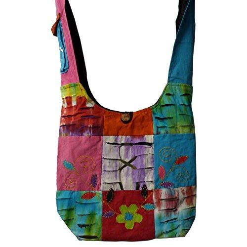 Patchwork Tasche Umhängetasche Handtasche Beuteltasche Tragetasche Schultertasche Shopper bestickt Farbe One-Flower (Bestickte Laptop-taschen)