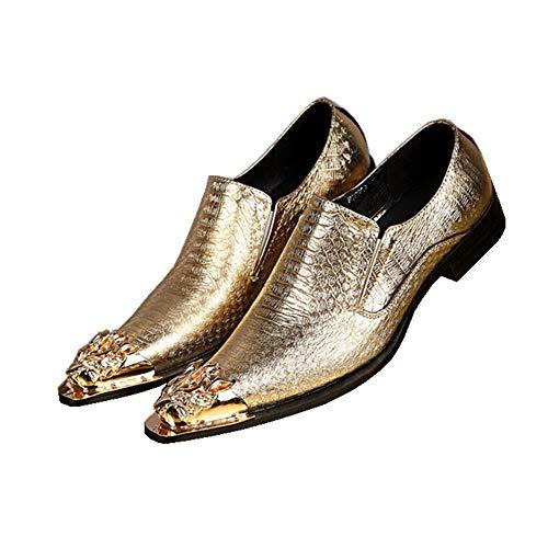 HNM Shoes Herren Lederschuhe Oxford Spitzschuh Halbschuhe Cowboy Mariage Schuhe Spitzmetall Toe überstreifen Abend Kleiden Gold Silber Klug Formal Partei Größe 37-46, Gold