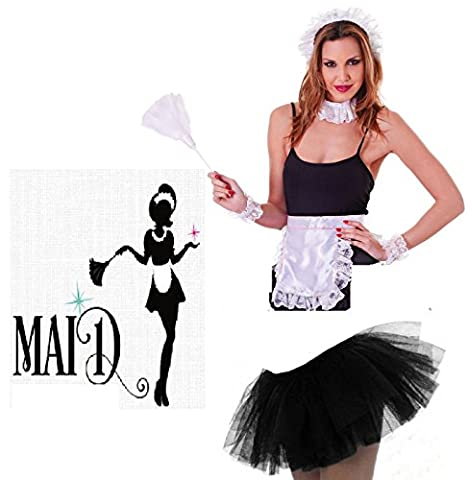 Adult Ladies French Maid Kit Deluxe Tutu Headpiece Choker Wrist Cuffs and Appron Fancy Dress Costume Accessories