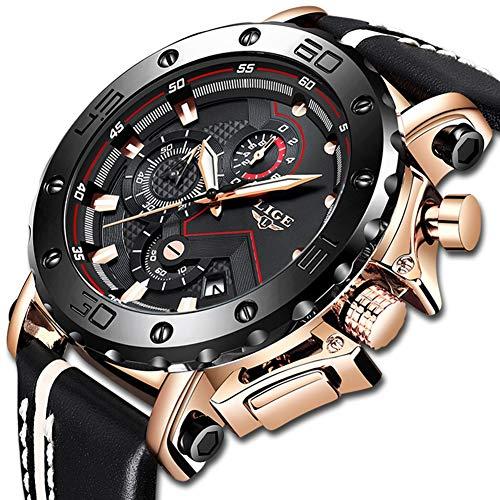 DEQIAODE Mode Herrenuhren Top-Marke Luxus Große Zifferblatt Militär Quarzuhr Leder Wasserdichte Sport Chronograph Uhr Männer (Große Marke-uhren)