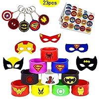 caicainiu 23 Superhero Slap Band Bracelets and Superhero Masks, Superhero Keychain Party Bags Kids Fillers Boys Girls Holiday Party Like Toys