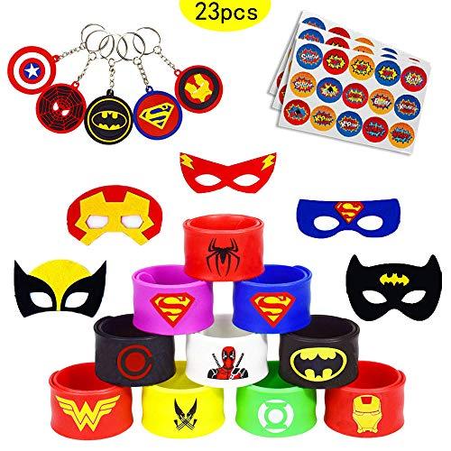 caicainiu 23 Superhero Slap Band Bracelets et Masques de Superhero, Superhero Porte-clés Sacs de fête Enfants remplisseurs Garcons Filles fête de Vacances comme des Jouets