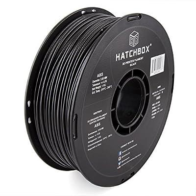 HATCHBOX 3,00 mm schwarzes ABS-Filament für 3D-Drucker - 1 kg-Spule Maßgenauigkeit +/- 0,05 mm