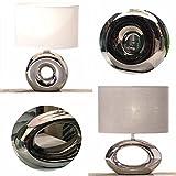 LS-LebenStil Design Tischleuchte Tischlampe Büroleuchte Schreibtischlampe Keramik Kugel rund Napoli Silber Weiß 26cm