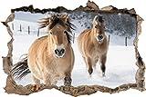 Pixxprint 3D_WD_2696_92x62 Pferde im Schnee Wanddurchbruch 3D Wandtattoo, Vinyl, bunt, 92 x 62 x 0,02 cm