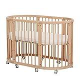 KLI 5 En 1 Multifunción Cuna para Bebés Recién Nacidos Sólido Inofensivo Pintura Cuna para Bebé Cama Mecedora, 125 * 73 * 76 Cm