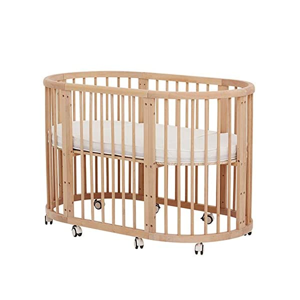 KLI 5 In 1 Multi Function Newborn Infant Crib Solid Harmless Paint Wood Baby Cradle Rocking Bed,125 * 73 * 76Cm KLI Shipping list : crib Size:125*73*76cm. Natural pine wood, harmless paint, polished and smooth, environmental wood, good for your baby 3 grade height adjustment: grade 1 (39cm from the floor)can be used for baby in 0-6 month, convenient to take out baby; grade 2 (26cm from the floor) for baby in 6-12 months and can stand independently;grade 3 (15cm from the floor) for baby in 1-3 years old. 1