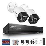 SANNCE Kits de seguridad sistema de 2 cámaras de vigilancia(Onvif H.264 4CH DVR y 2 cámaras TVI 720P)-NO HDD