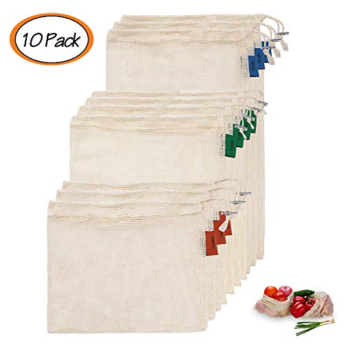 hblife Wiederverwendbare Obst und Gemüsebeutel einkaufsnetze Einkaufstaschen aus Baumwolle Gemüsenetze Obstbeutel mit Gewichtsangabe Natural Mesh Baumwolle 10er Set (S,M,L)