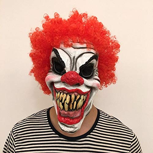 Dodom Horror Clown Böse Overhead Latex Kostüm Maske Halloween Party Gruselige Clown Maske mit roten Haaren Kostüm Requisiten Lustig, Rot (Halloween Böser Clown-requisiten)