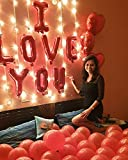 CherishX.COM - I Love You and Heart Shape Foil Balloons Decoration Kit with LED Lights - 53 Items Combo - for Happy Wedding Anniversary Romantic Surprise Party Decoration at Home or Bedroom