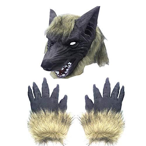 Werwolf Kopf Kostüm - song rong Wolf-Kopf-Masken-Halloween Scary Full Face Werwolf-Maske mit Handschuhen für Halloween und Cosplay-Kostüm-Party Horror Nights Schwarz 1PC