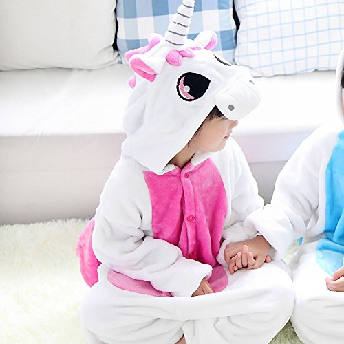 Kids Cartoon Flannel Animal Novelty Costumes Cosplay Pajamas Role-Playing Halloween Play Clothes Unicorn,Rose red,XL (4 Yr Old Boy Halloween Kostüme)