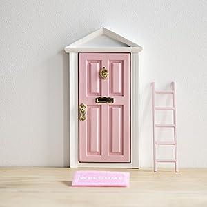 Ratoncito Pérez: Puerta Mágica Rosa + Pequeña Llave + Postal de Felicitación + Dibujo para colorear + pequeño felpudo + plantilla para las huellas + pequeña escalera (3 unidades)  de Puertadelratoncitoperez.com