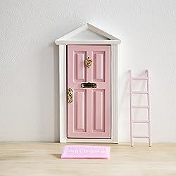 Ratoncito Pérez: Puerta Mágica Rosa + Pequeña Llave + Postal de Felicitación + Dibujo para colorear + pequeño felpudo + plantilla para las huellas + pequeña escalera