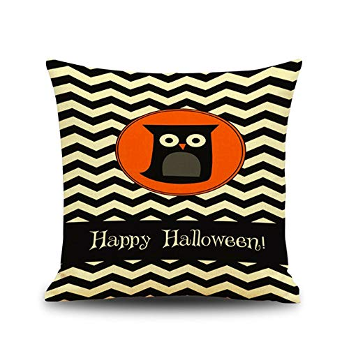 FASTCX Halloween Kürbisszene Thema Leinen Kissen Kreative Geschenk Office Home Kissen Kissenbezug 6 45x45cm ohne Kissen