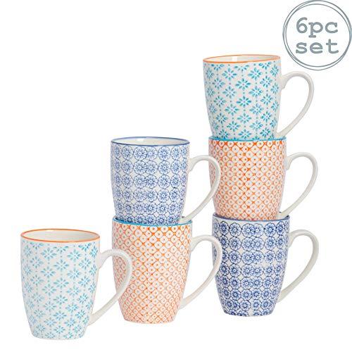 Kaffeebecher/Teetassen - gemustert - 360 ml (12,7 oz.) - 3 Designs - 6 Stück