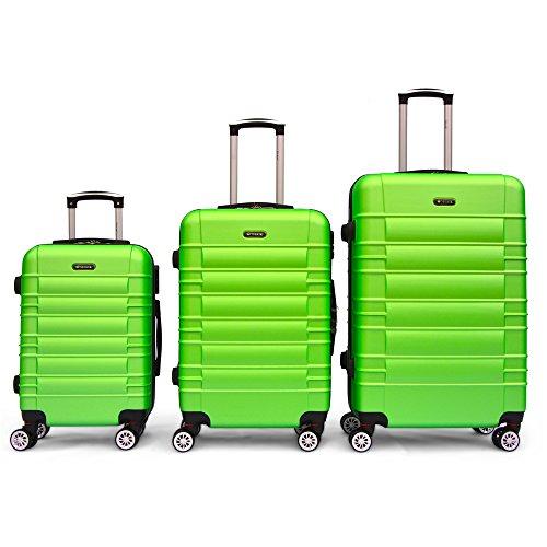 SHAIK SerieCLASSIC JFK Design Hartschalen Trolley, Koffer, Reisekoffer 4 Doppelrollen Zwillingsrollen, Zahlenschloss (Set, Grün)