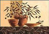 Keilrahmen-Bild - Claudia Ancilotti: Volterra Leinwandbild Stillleben modern floral braun (60x80)