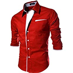 Pearl Ocean Men's Cotton & Crush Shirt (red party wear shirt-M__Red_Medium)