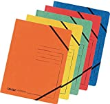Falken Premium Folder with Elasticated Corners Extra Strong Color Chip Card Folder DIN A4with 2Elasticated Sides Assorted Colours Pack of 5File Folder Document Folder, Great for the office mobile Organisation