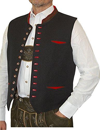 Herren Gilet Leinen Trachten Weste Roman, Größe:50;Farbe:schwarz - rot