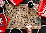 Set de 30 Table en Papier américain avec Carte au trésor Pirates, 40 x 30 cm...