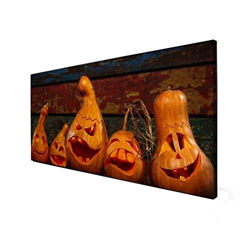 von banjado   Design Memoboard 37x78cm   Metall Pinnwand mit Motiv Fratzen Schneiden (Schnitzen Halloween-kürbis Gesicht)