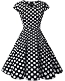 Homrain Damen 50er Vintage Retro Kleid Party Rockabilly Cocktail Abendkleider Black White Big Dot 3XL