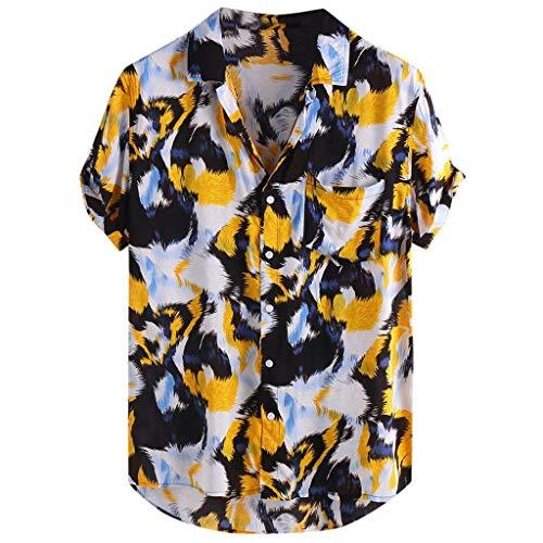 LOLIANNI Männer gedruckt Brusttasche Shirts männlich drehen unten Kragen Kurzarm Casual Tops lose T-Shirts Bluse -