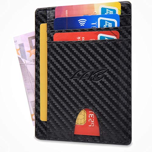 LA Bottega Portafoglio Uomo, Porta Carte di Credito con Protezione RFID, Carbon (Nero), Creato in Italia, Sottile e Piccolo, Ideale per Carte di Credito, Tessere, Documenti e Banconote