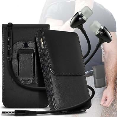 ONX3 Samsung GT-C3595 PU Leather Pouch Belt magnetischen Holster Flip Case Skin Cover mit Premium Qualität im Ohrhörer Stereo Freisprecheinrichtung Headset mit integriertem Mikrofon Mic & On-Off -Button (Schwarz)