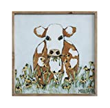 Creative beeinflußt gerahmt Cow Eating Blumen Leinwand