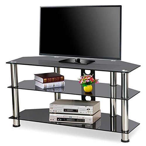Popamazing Black Glass Tv Stand For Plasma Lcd Flat Screen Tvs Up To 60 Inch, 3 Tier Storage Shelves