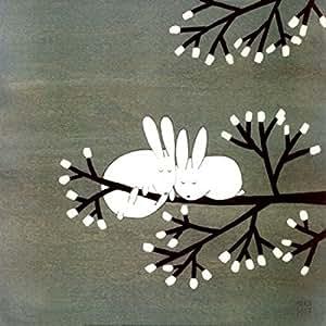 Kristiana Parn – Lapins sur Marshmallow arbre Impression d'art Print (30,48 x 30,48 cm)