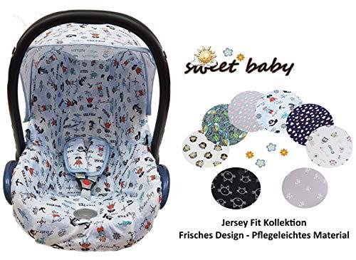Sweet Baby ** 100{b6c2eb0079c217018afad3d8131a71a11bbd2d27db03eb7df6762999f84ca4e3} Jersey Fit ** KomplettSet Schonbezug/Hoody/Verdeck/Gurtpolster für Babyschale Maxi-Cosi Cabrio, Pebble und andere (3er Komplettset, Little Pirat)
