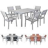 Miweba Bermuda Polywood 6+1 Aluminium Sitzgarnitur 150x100 Alu Gartenmöbel 6 Stühle Sitzgruppe Tisch Holz Gartenset (Hellgrau)