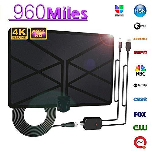 Finelyty HDTV-Antenne - 2019 Update Version 960 Meile Langstrecken-Digitalantenne Mit Signalverstärker-Booster-Unterstützung 4K 1080P Für Lokale Broadcast-Kanäle
