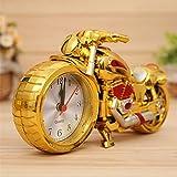 OFT Vintage Motorrad Alarm Clock Wecker Motorcycle Tischuhr Quartzuhr Standuhr (gold+rose)