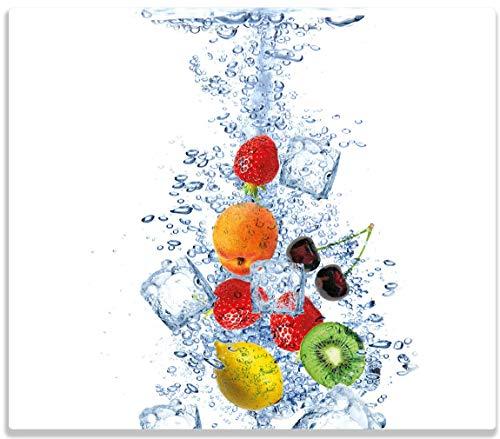 Herdabdeckplatte / Spitzschutz aus Glas, 1-teilig, 60x52cm, für Ceran- und Induktionsherde, Obst-Eiswürfel-Mix im Wasser mit weißem Hintergrund