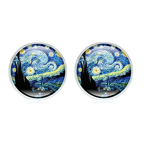 Dabixx Van Gogh-Malerei-Ohrstecker die sternenklare Nachtglaskuppel Post Schmuck - Weiß