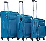 Kofferset Trolley Gepäckset Stoff Dehnungsfuge Koffer Reisekoffer (Türkis)